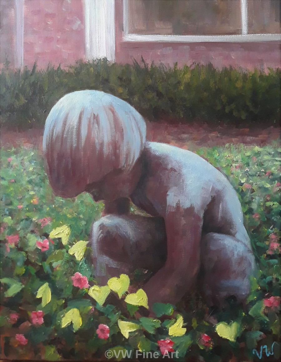Boy at Play_Oil on 14 by 18-inch_2020 watermarked